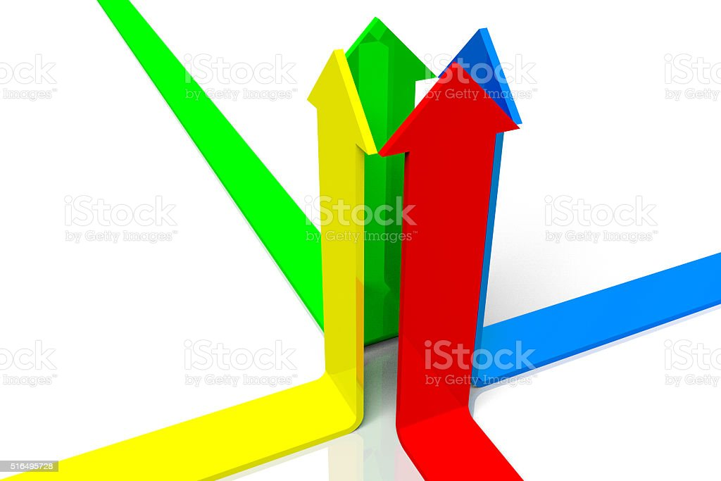3D arrows concept - teamwork stock photo