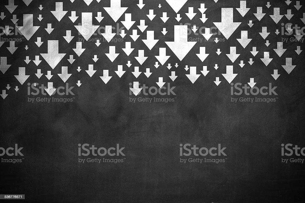 Arrows down stock photo