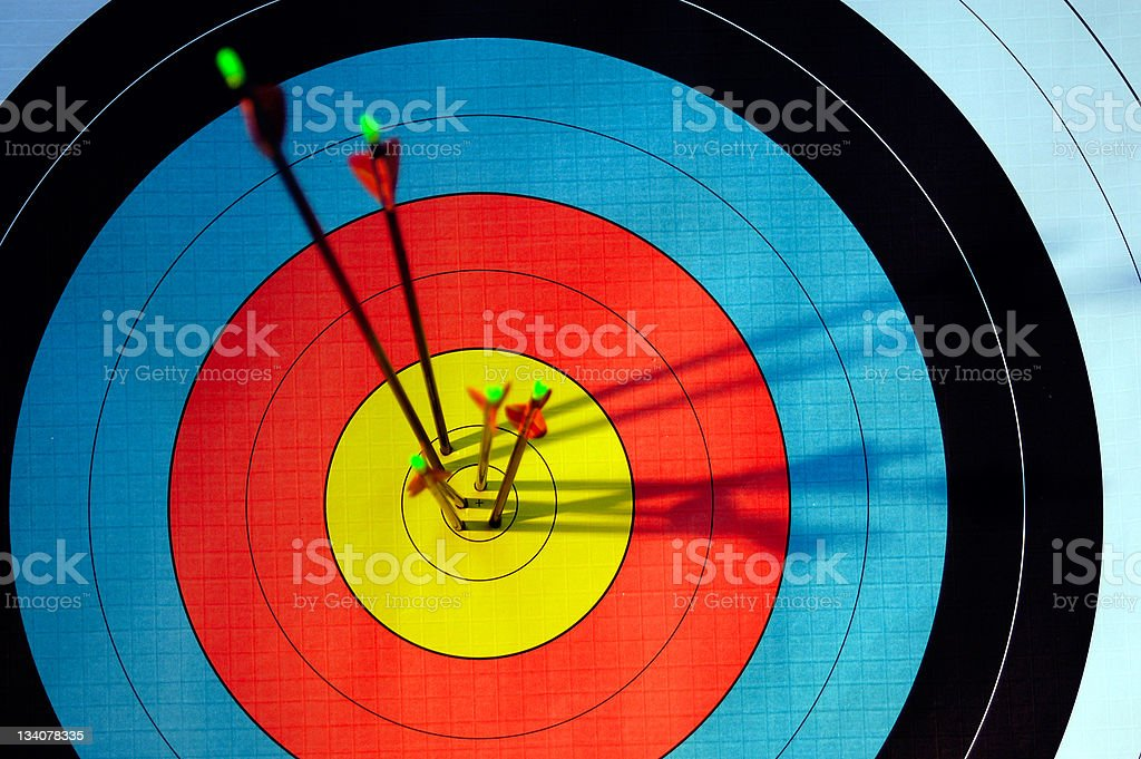 arrows in target stock photo
