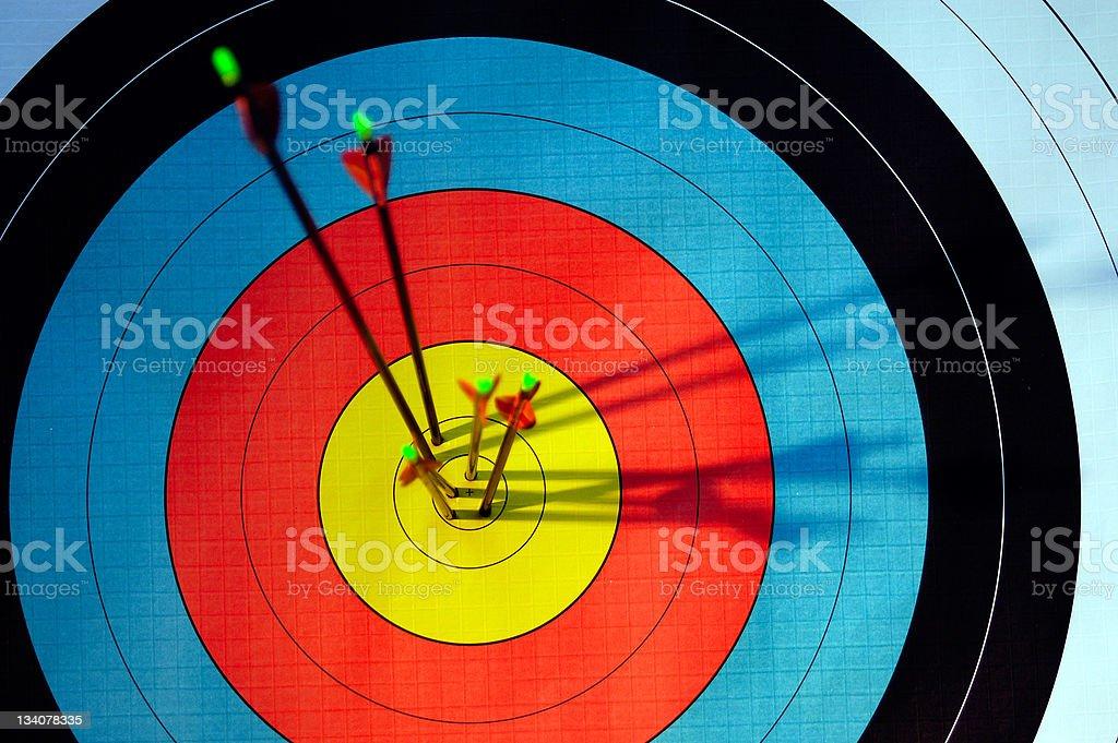arrows in target stock photo