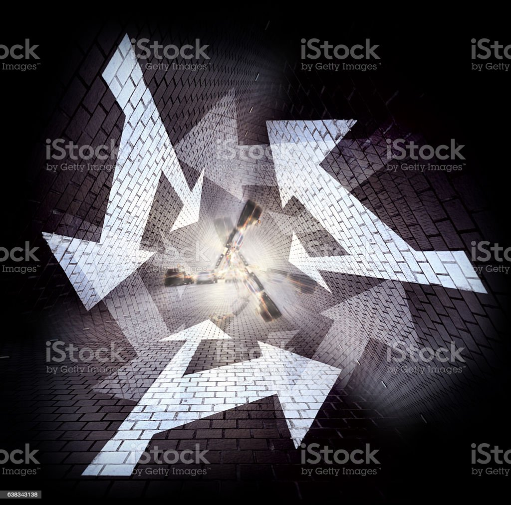 Arrows in the evening, kaleidoscopic view stock photo