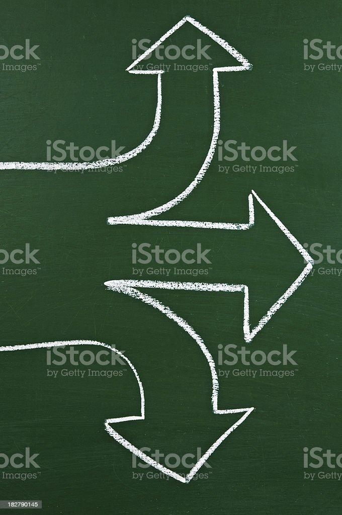 arrows on a blackboard royalty-free stock photo