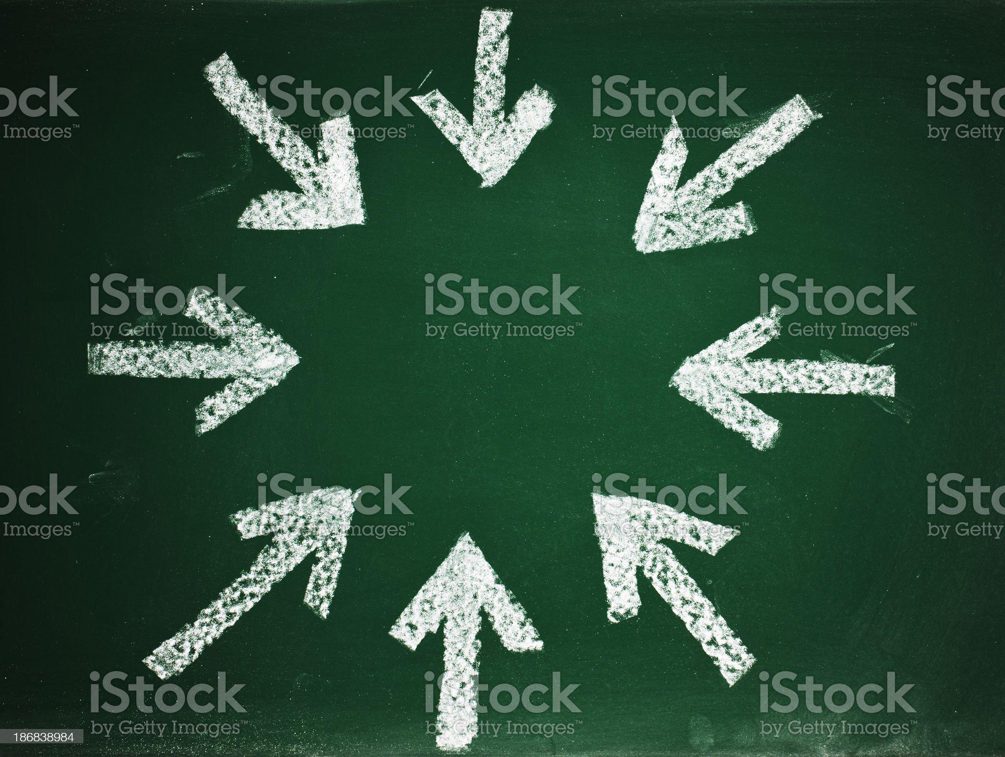arrows on blackboard royalty-free stock photo