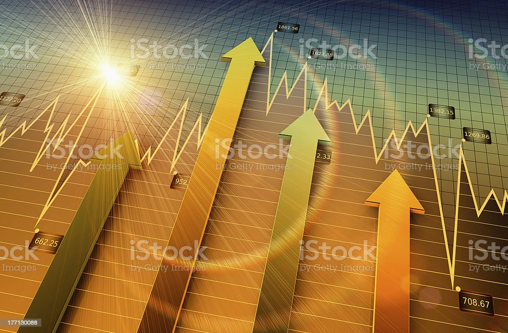 Arrows on chart graph pointing up stock photo