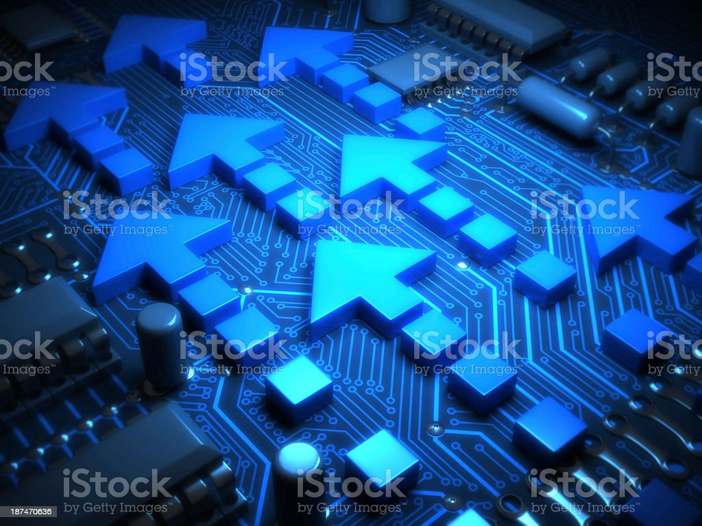Arrows on motherboard stock photo