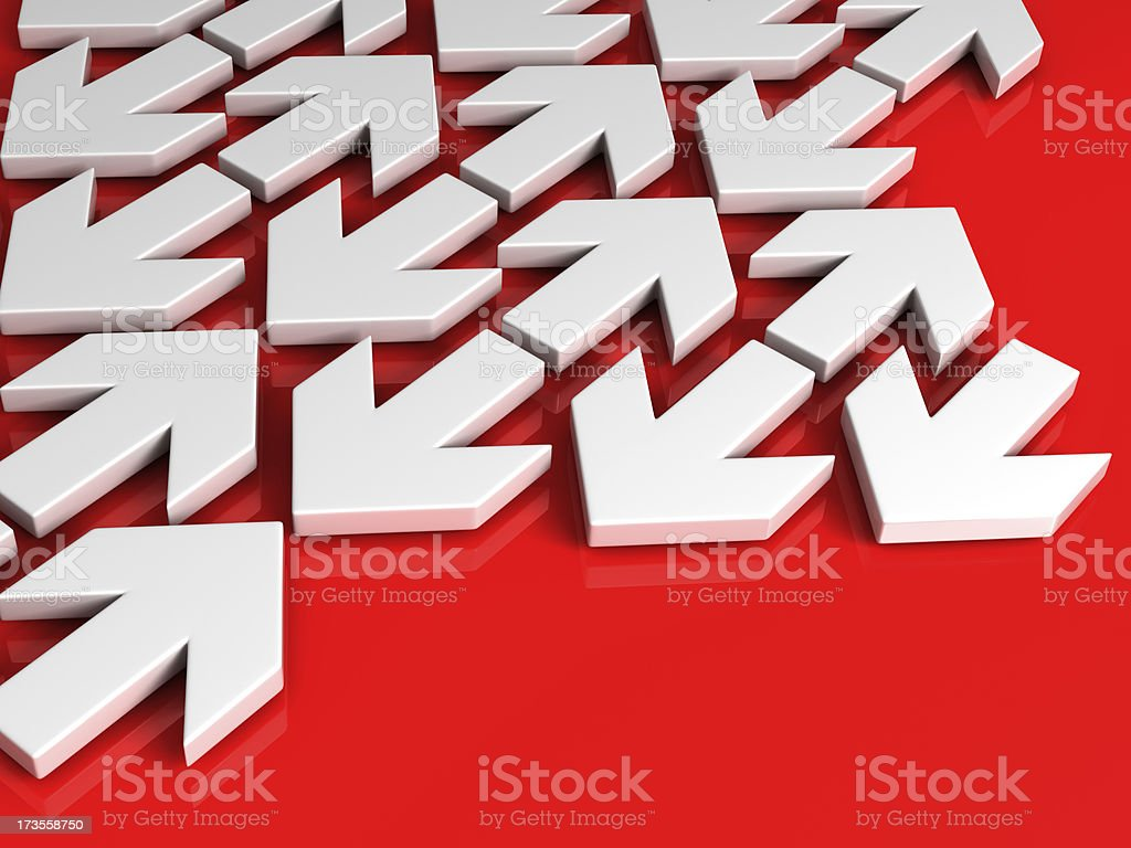 arrows on red background royalty-free stock photo