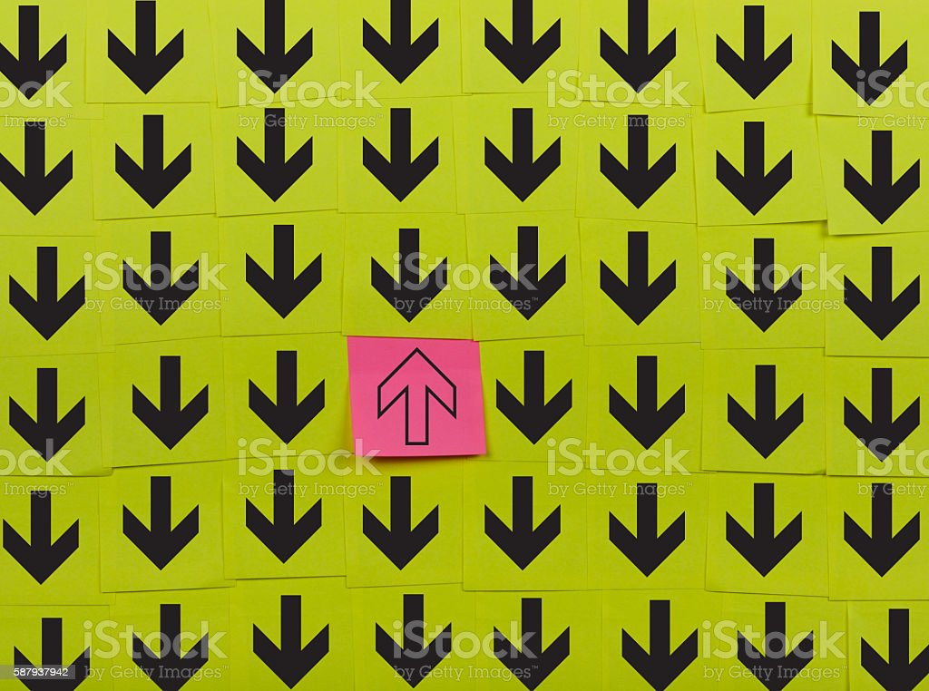 Arrows. Opposite direction concept stock photo