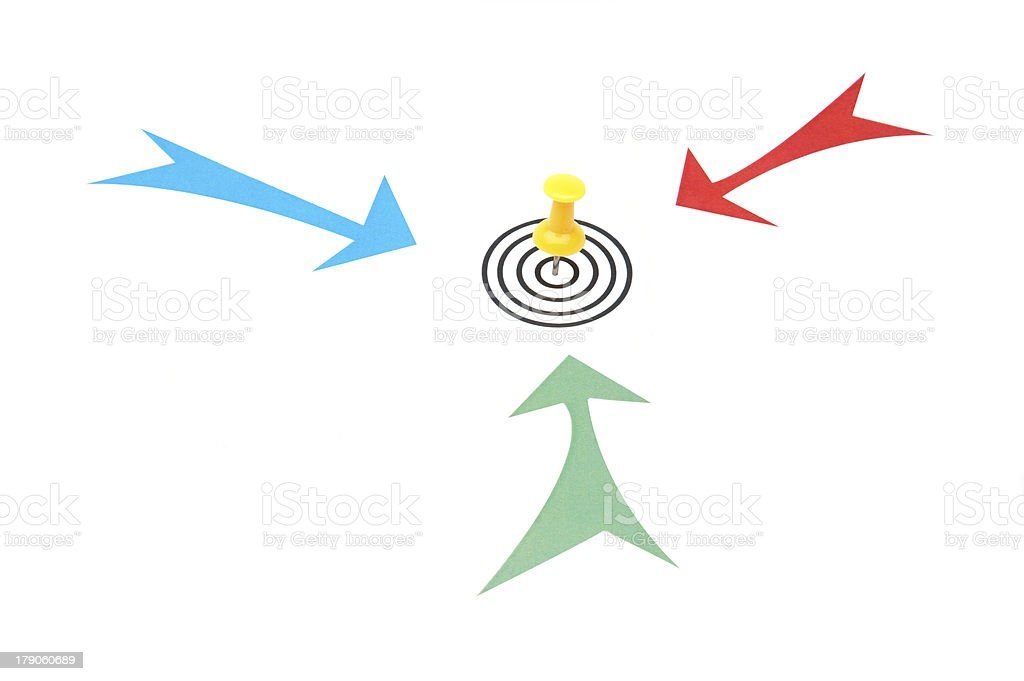 Arrows pointing to same target royalty-free stock photo