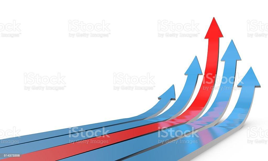 Arrows rising up stock photo