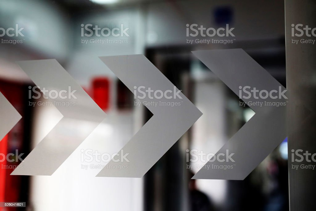 Arrows showing the direction stock photo