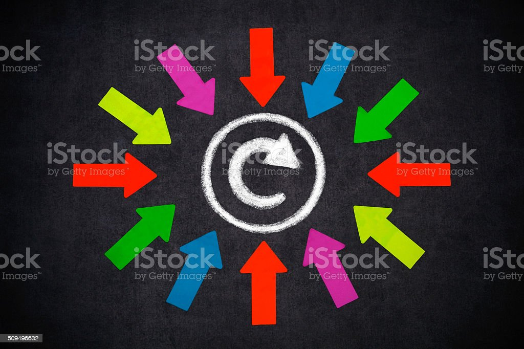 Arrows with refresh button stock photo
