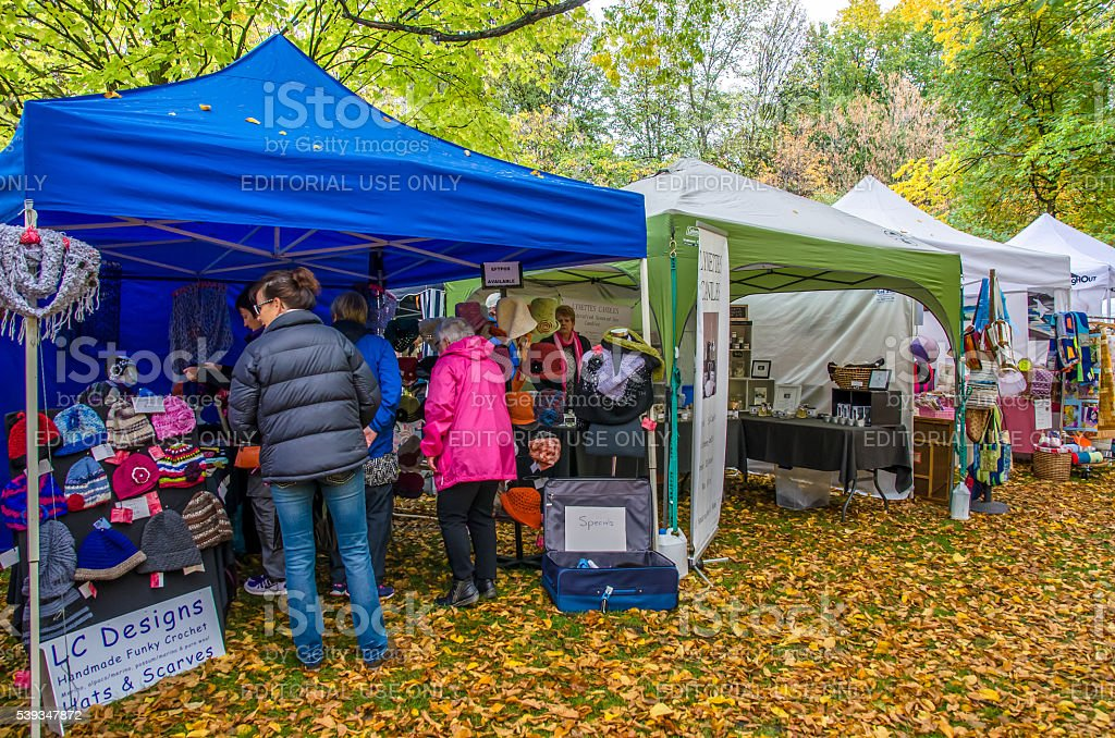 Arrowtown Autumn Festival in New Zealand. stock photo