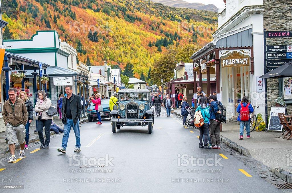 Arrowtown Autumn Festival on Buckingham Street, New Zealand stock photo