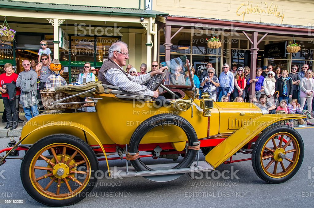 Arrowtown Autumn Festival on Buckingham Street, New Zealand stock photo