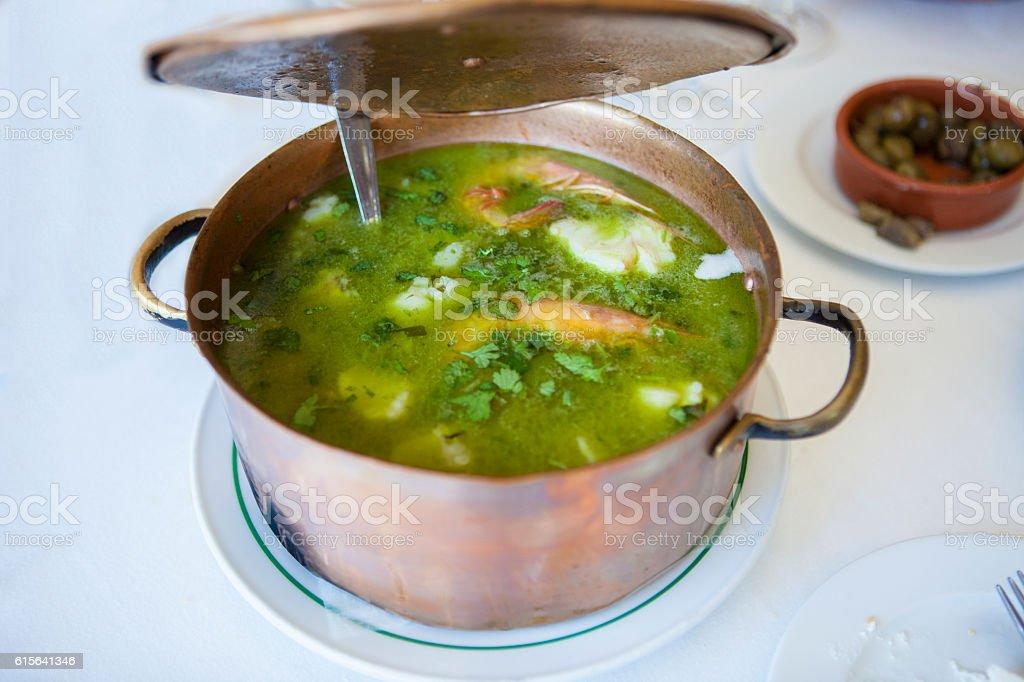 Arroz de Tamboril or soupy seafood rice, portuguese recipe stock photo