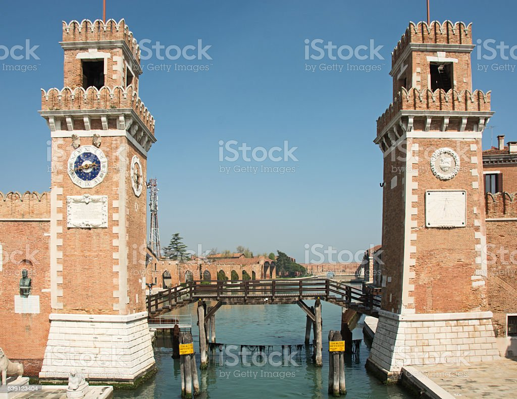 Arsenale in Venice showing the canal and the gate structure stock photo