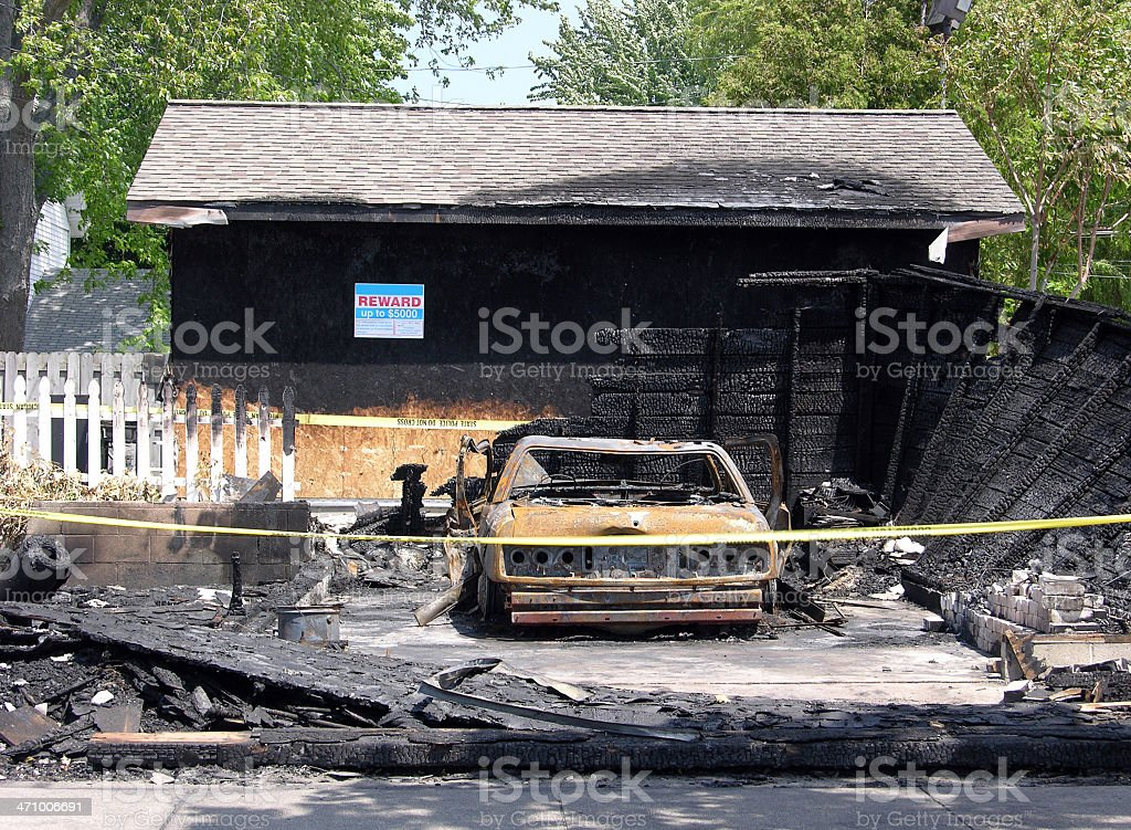 Arson in a small town royalty-free stock photo