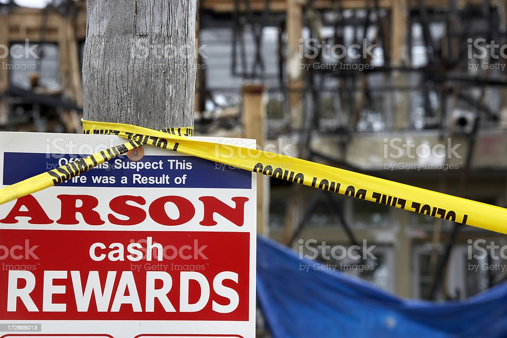 Arson sign royalty-free stock photo