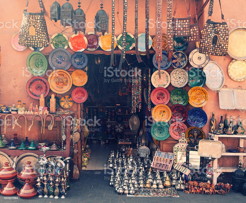 Art and craft shop in Marrakesh, Morocco stock photo