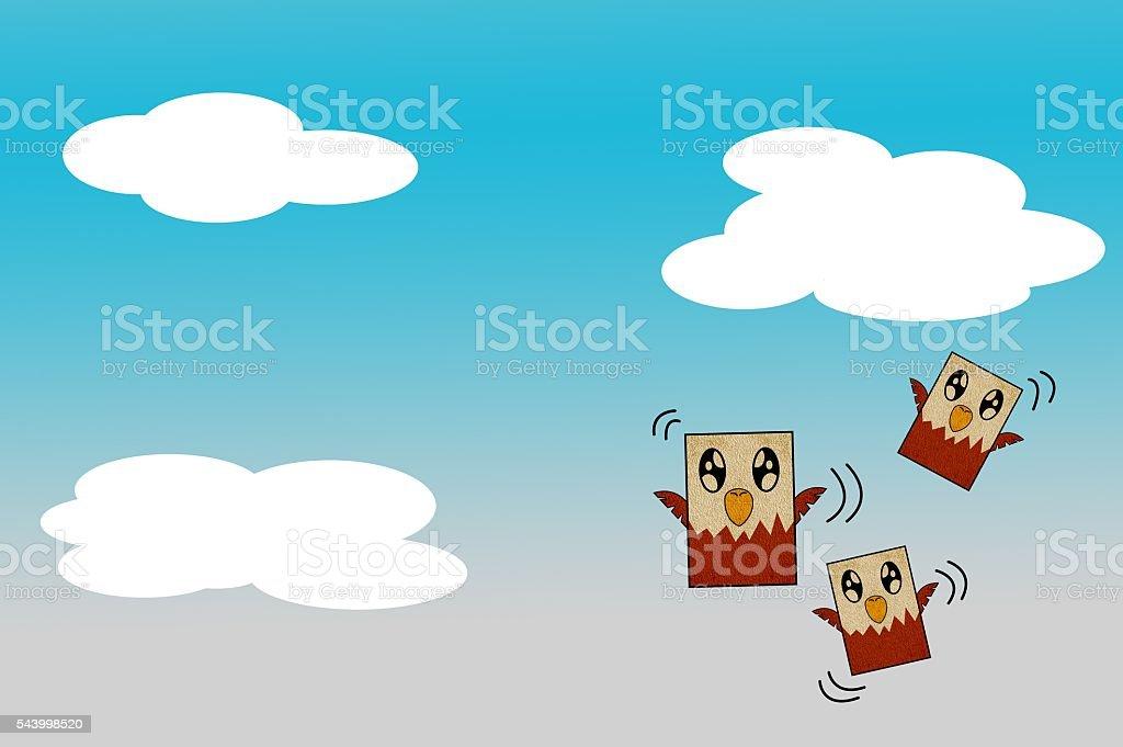 art bird cartoon on blue sky stock photo