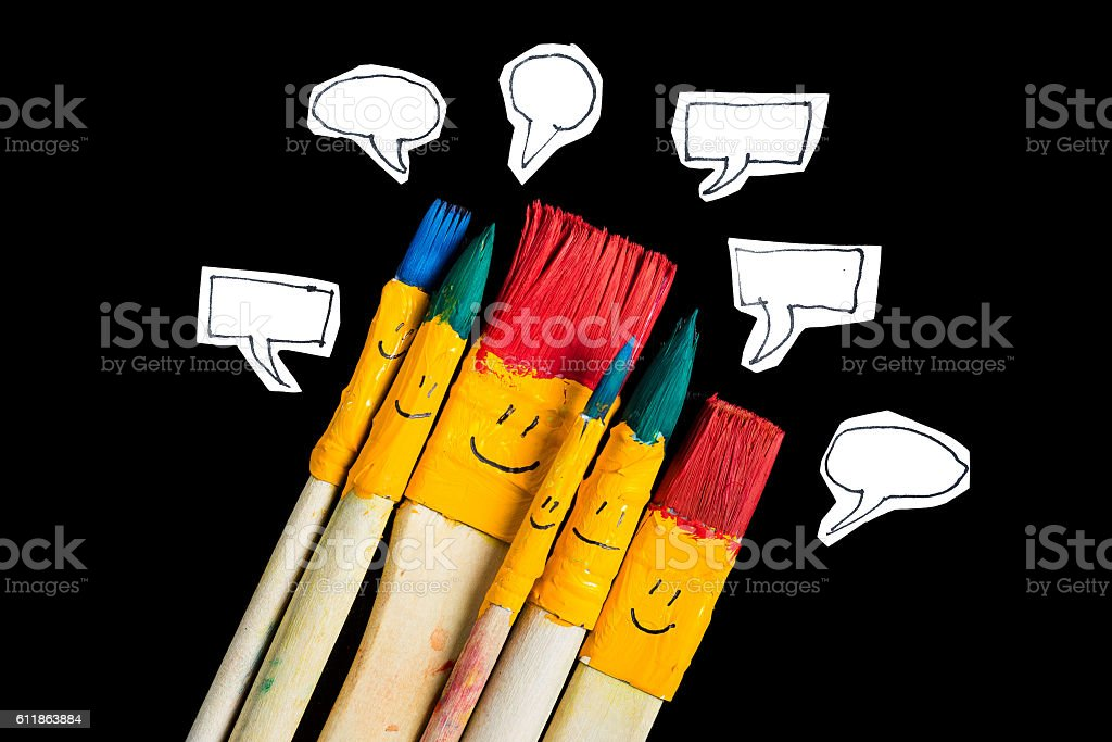 Art brsushes with smile face talking. stock photo