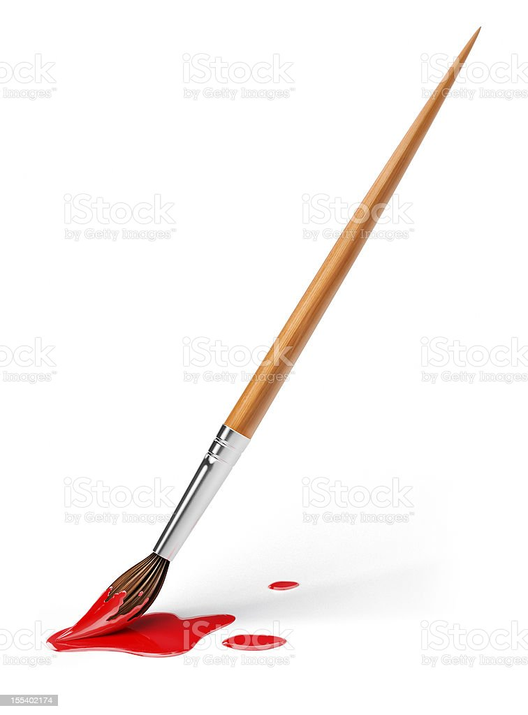 art brush with red paint stock photo