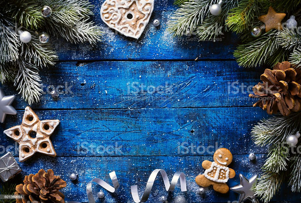 art Christmas background with christmas cookies and festive deco stock photo