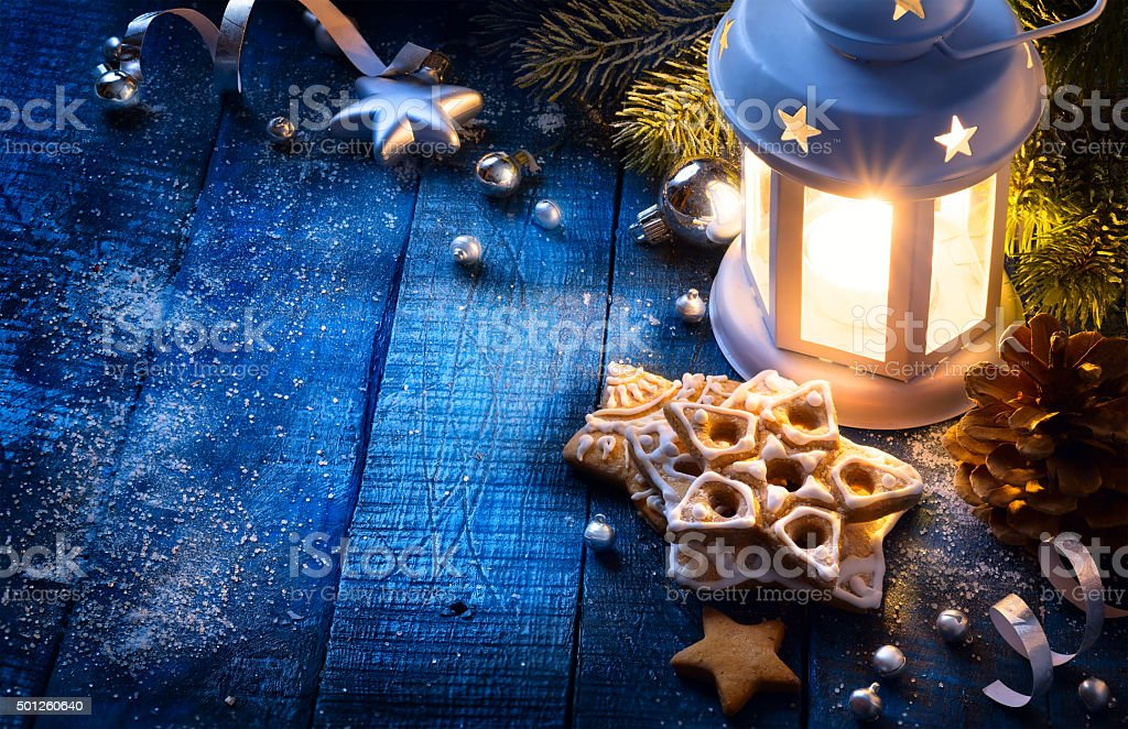 art Christmas background with christmas light and festive decora stock photo