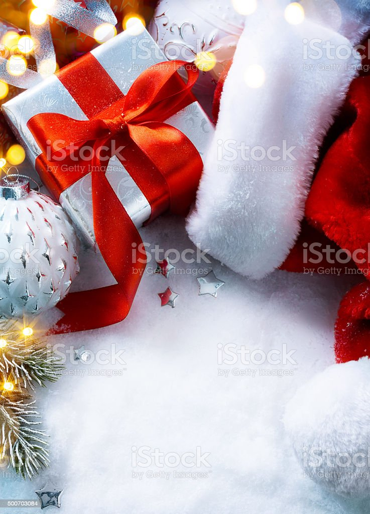 art Christmas  festive background with  gift box stock photo