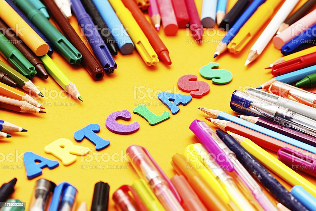 Art Class say play letters with drawing materials; fun time! royalty-free stock photo