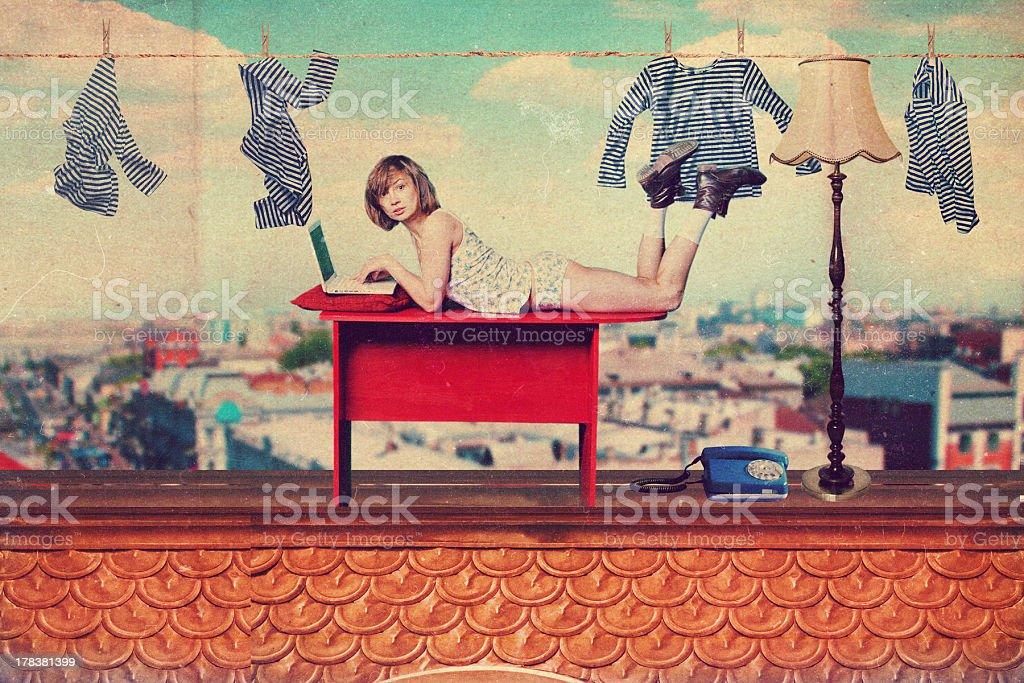collage de hermosa mujer con arte foto de stock libre de derechos