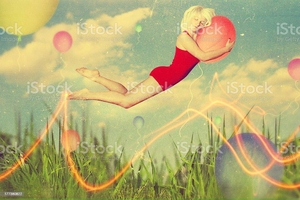 Arte collage de hermosa mujer joven foto de stock libre de derechos