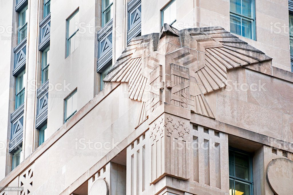 art deco American eagle on Federal Building, New York stock photo