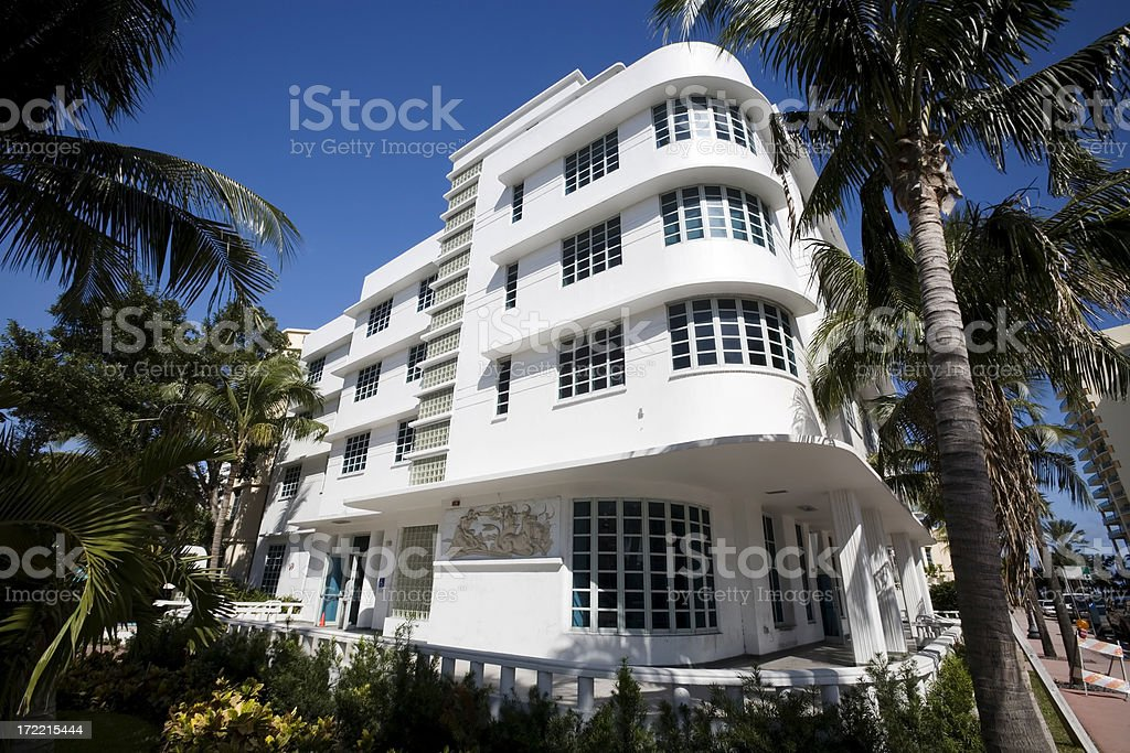 Art Deco Apartments, Miami royalty-free stock photo