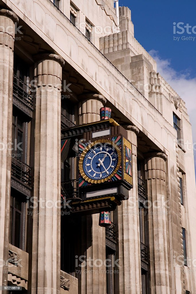 Art Deco architecture with clock stock photo