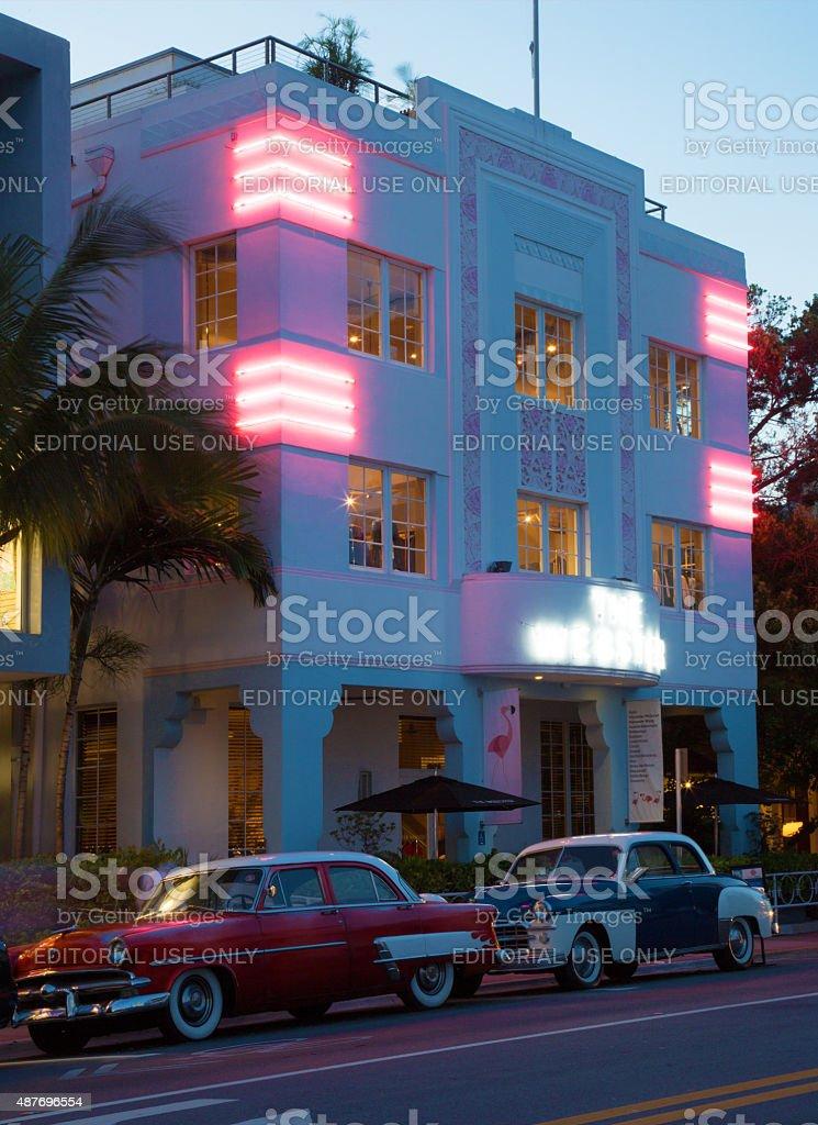 Art deco building at dusk in Miami Beach stock photo