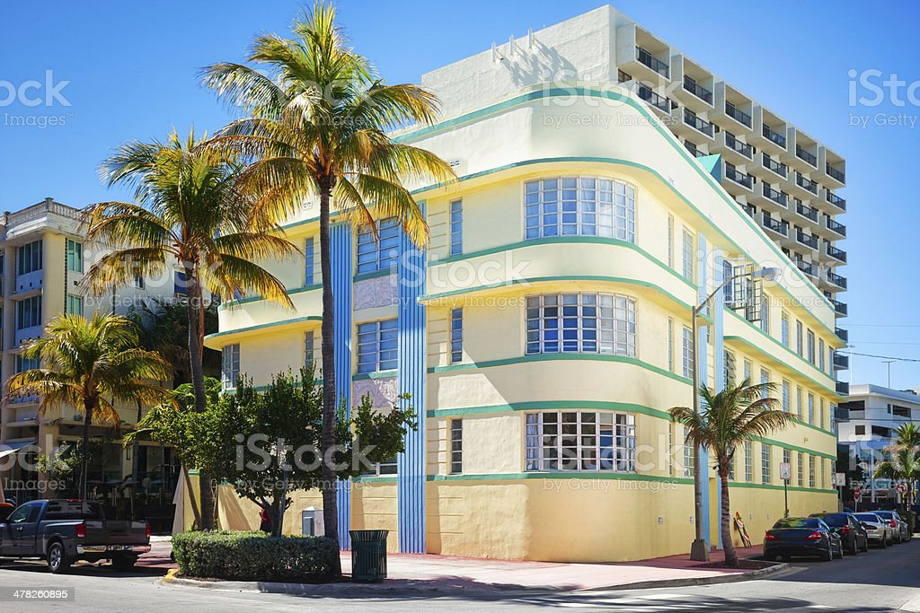 Art Deco building in South Beach Florida stock photo