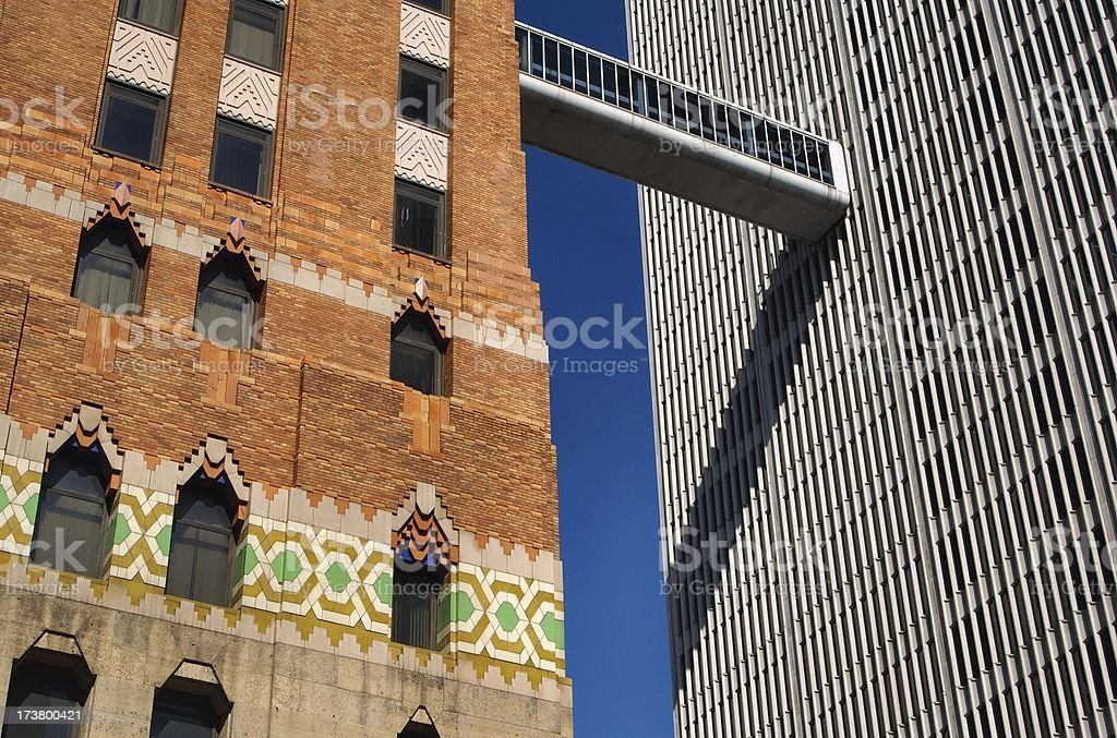 Art Deco Building next to Modern in Detroit royalty-free stock photo