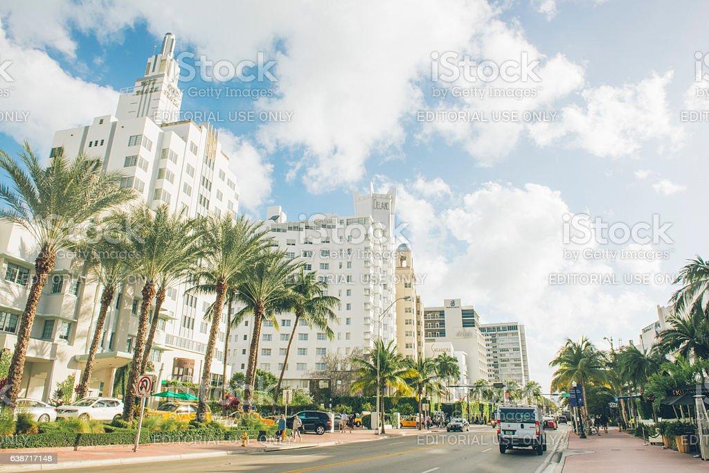 Art Deco Collins Avenue Cityscape South Beach Miami Florida stock photo