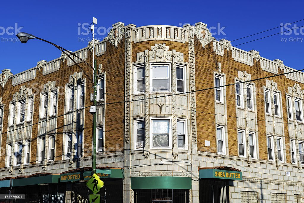 Art Deco  Commercial Building, Avalon Park, Chicago stock photo
