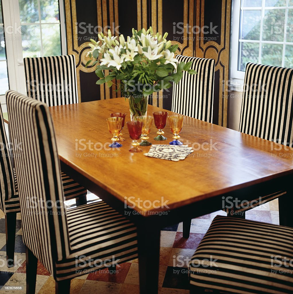 Art Deco Dining room with wine glasses royalty-free stock photo