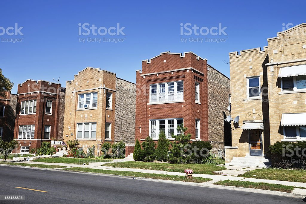 Art Deco Flats in Dunning, Chicago royalty-free stock photo