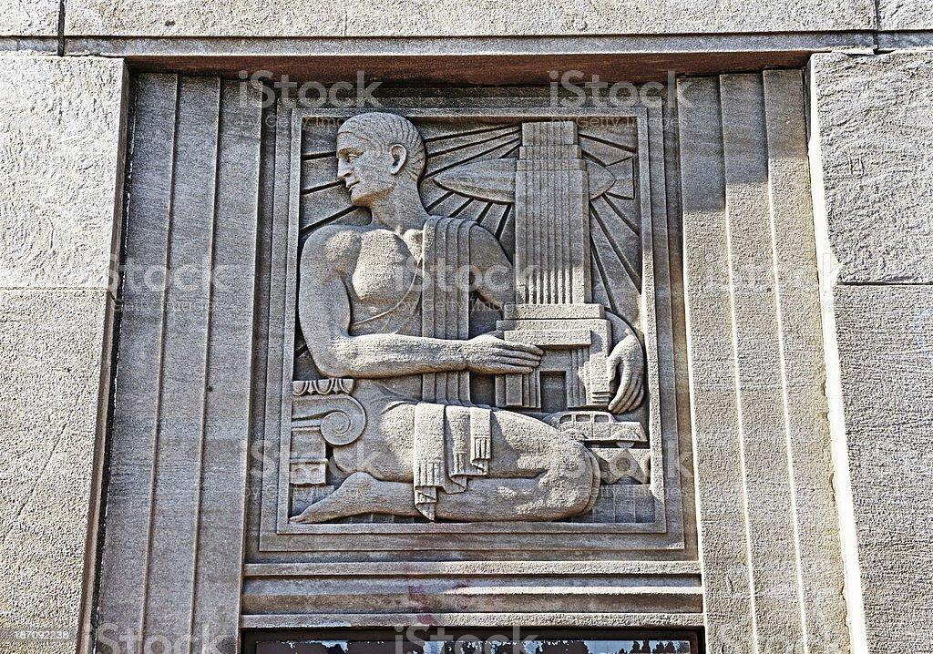 Art Deco frieze on Ashland Avenue Bridge, Chicago royalty-free stock photo
