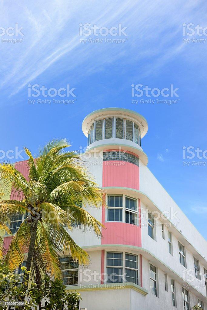Art Deco hotel facade in Miami Florida USA stock photo