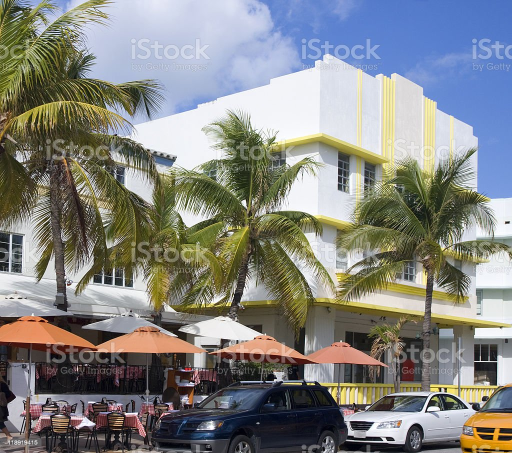 Art Deco hotels and restaurant on Ocean Drive royalty-free stock photo