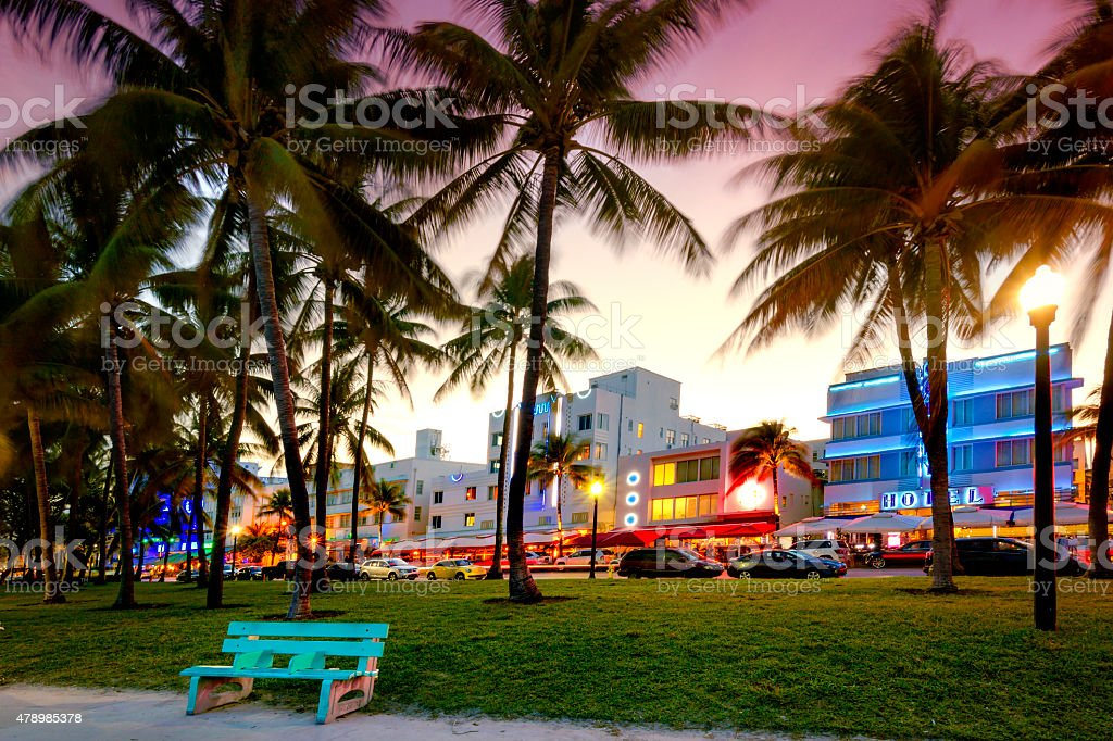 Art Deco Hotels, Miami. stock photo
