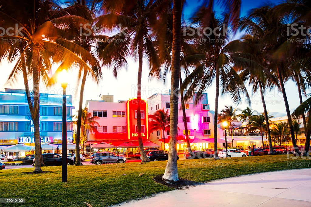 Art Deco Hotels, Miami. stock photo