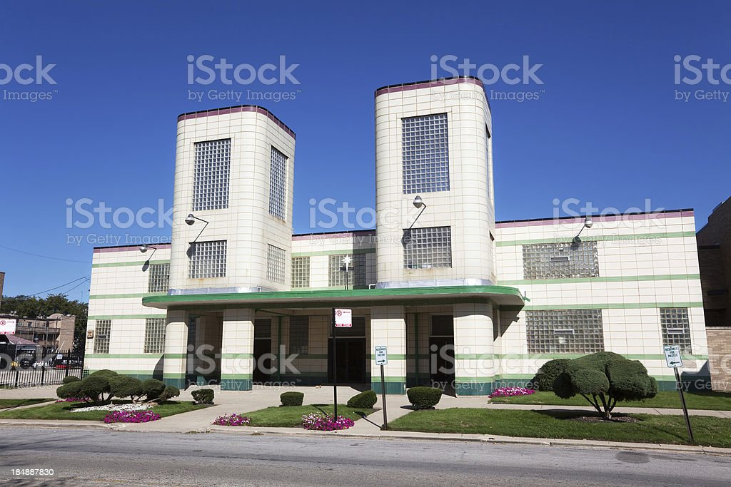 Art Deco Landmark Church in Grand Boulevard, Chicago stock photo