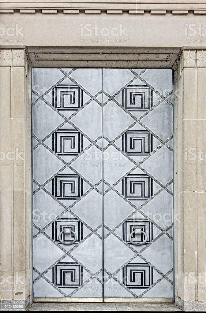 Art Deco Metal Door stock photo