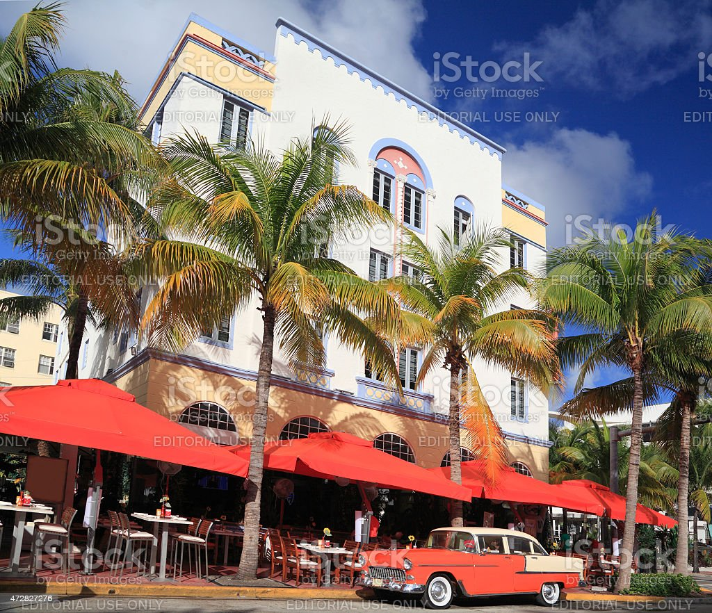 Art Deco Restaurant on Ocean Drive, Miami Beach stock photo